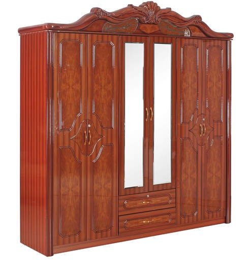 Buy Lotus Six Door Wardrobe In Rosewood Colour By Royal Oak Online