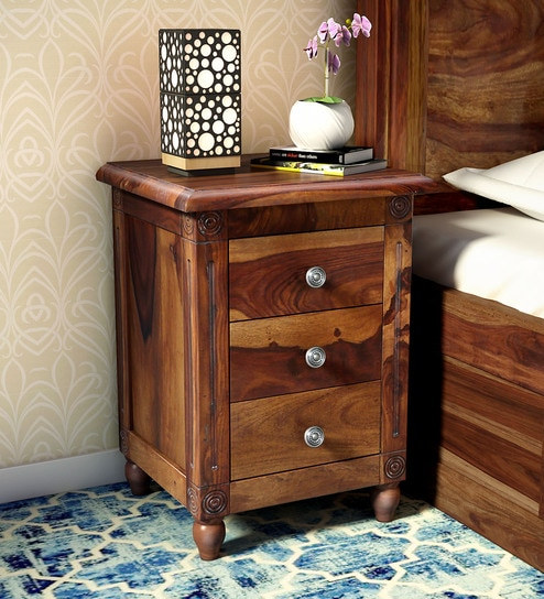 Louis Solid Wood Bedside Chest In Provincial Teak Finish By Amberville