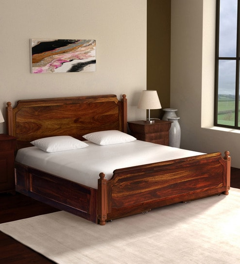 Louis Solid Wood King Size Bed With Storage In Provincial Teak Finish By Amberville
