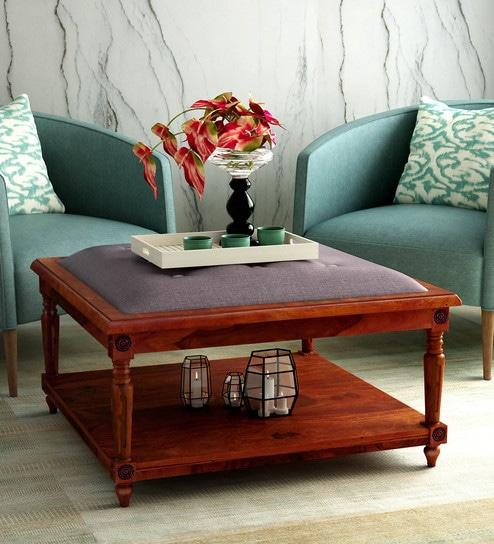 Buy Louis Solid Wood Upholstered Coffee Table In Honey Oak