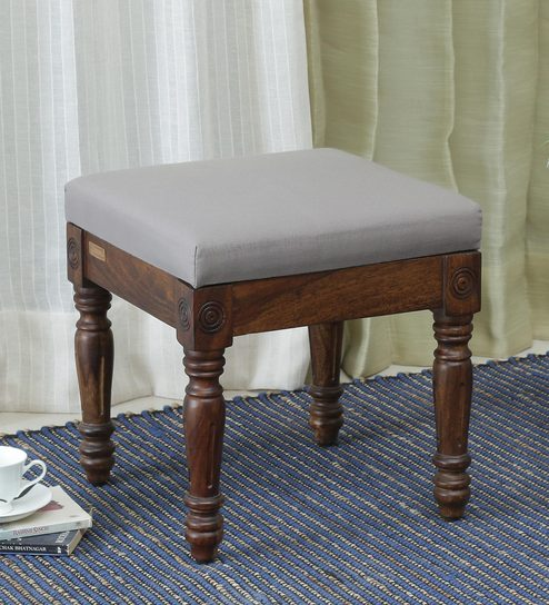 Phenomenal Louis Solid Wood Upholstered Stool In Provincial Teak Finish By Amberville Gmtry Best Dining Table And Chair Ideas Images Gmtryco