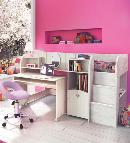 Lovely Kids Single Bed With Study Table In Cream U0026 Baby Pink Finish By  Alsapan Part 97