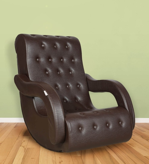 Rocking Chair with Arm Rest in Brown Colour by Parin