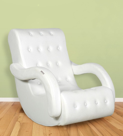 Rocking Chair with Arm Rest in White Colour by Parin