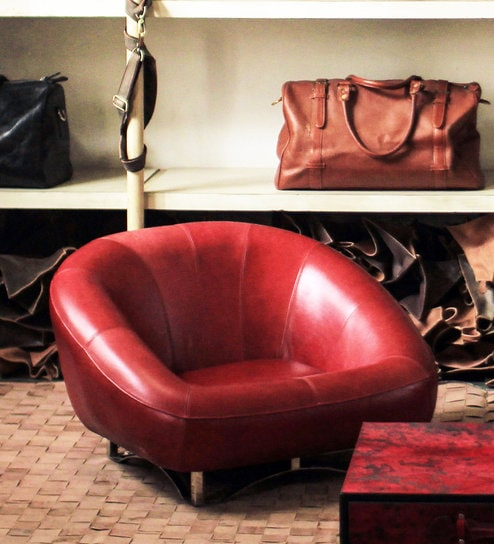 Agate Low Seating Sofa In Genuine Red Leather By Threesixty