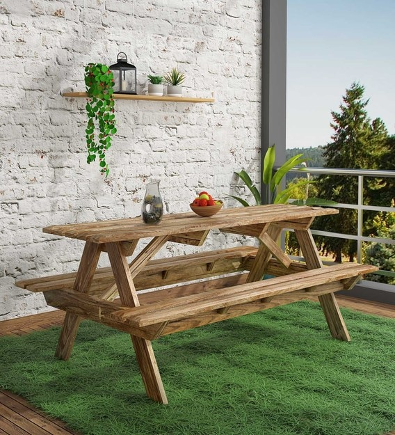 lomira solid wood 6 seater patio dining set in natural mango wood finish