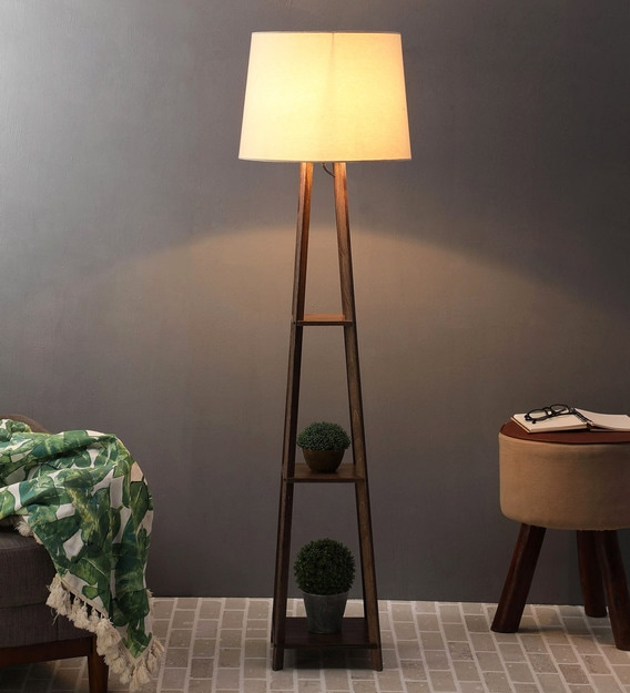 Beige Fabric Shade Floor Lamp With, Contemporary Floor Lamp With Table