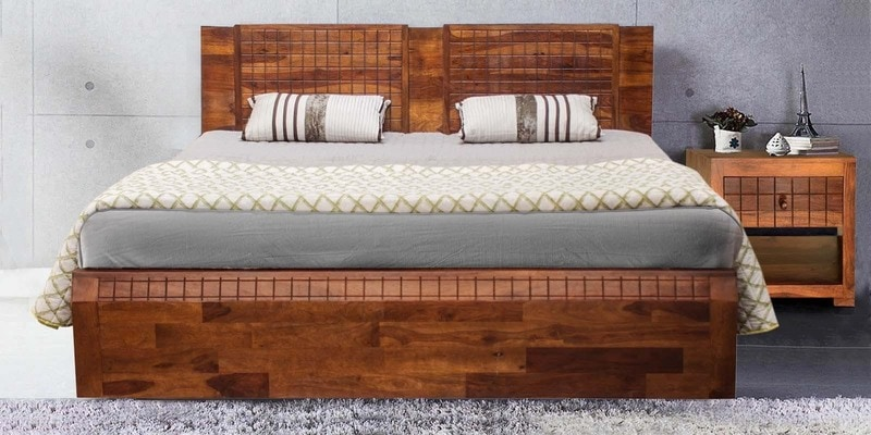 Lorenzo Queen Bed with Storage in Warm Rich Finish by Woodsworth