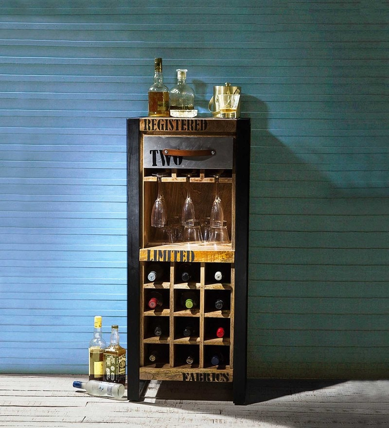 Lobash Iron & Wooden Bar Unit in Natural Finish by Bohemiana