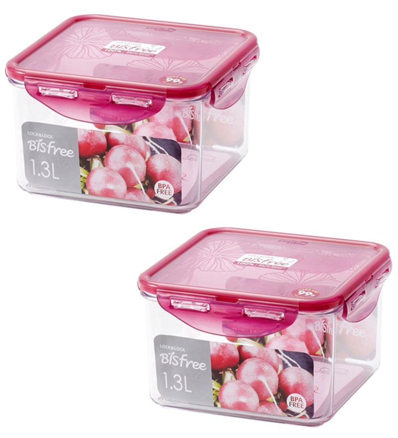 Lock&Lock Square 870 ML Bisfree Stackable Container - Set of 2