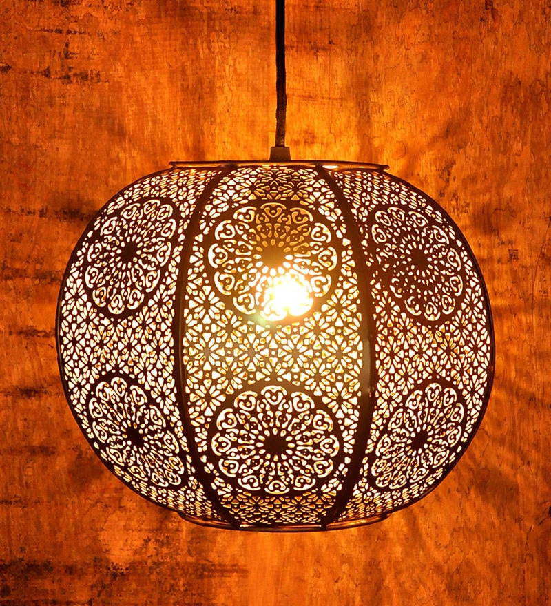 Buy Zellige Round Morrocan Golden Iron Hanging Lamp By