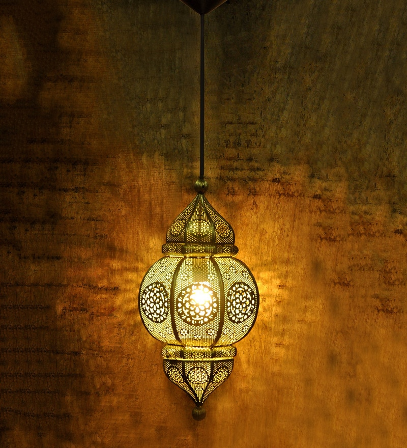 Golden Iron Moroccan Filigree Hanging Light by Logam