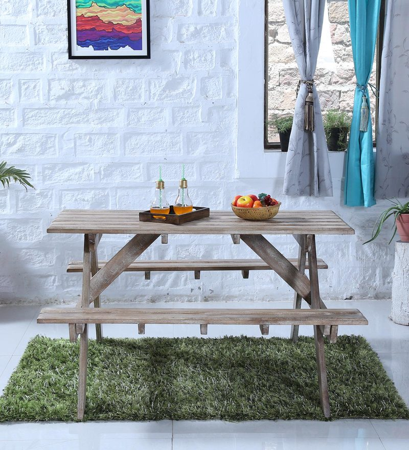 Lomira Four Seater Picnic Table in Distress Finish by Bohemiana