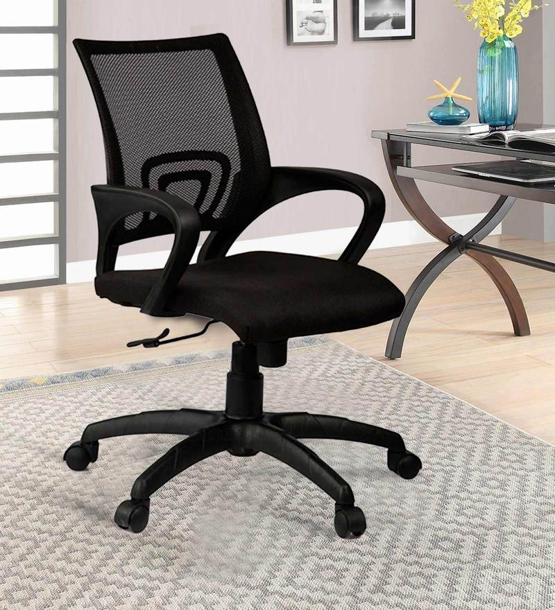 Low Back Mesh Black Ergonomic Chair with Nylon Base by Adiko Systems