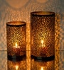 Logam Black & Gold Iron Tealight Holder - Set of 2
