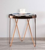 Lucas Small End Table in Black & Copper Colour