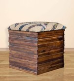 Luke Box Pouffe in Walnut Colour