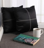 Black Blackout Polyester 12 x 12 Inch Cushion Cover with Artistic Stitch - Set of 2