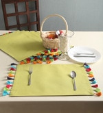 Lushome Cotton Reversible Pom Pom Table Placemats Set of 6 Color Available