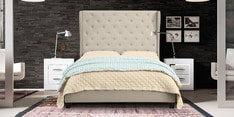 Luxurious Queen Size Bed with Upholstered Backrest in Off-Beige Colour