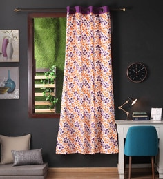 Lushomes Multicolour Cotton 90 X 54 Inch Shadow Printed Door Curtain With 8 Eyelets & Plain Tiebacks  -1 Piece