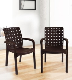 Luxury Plastic Chair (Set Of 2) In Brown Colour - 1645422