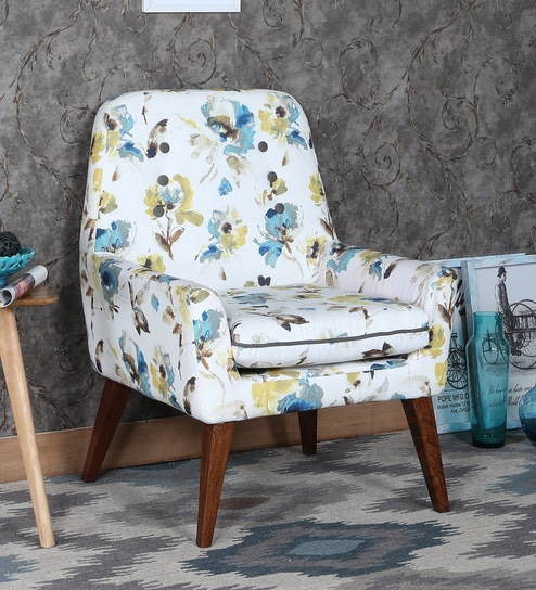 Admirable Lugo Lounge Chair In Teal Floral Design By Furnitech Squirreltailoven Fun Painted Chair Ideas Images Squirreltailovenorg