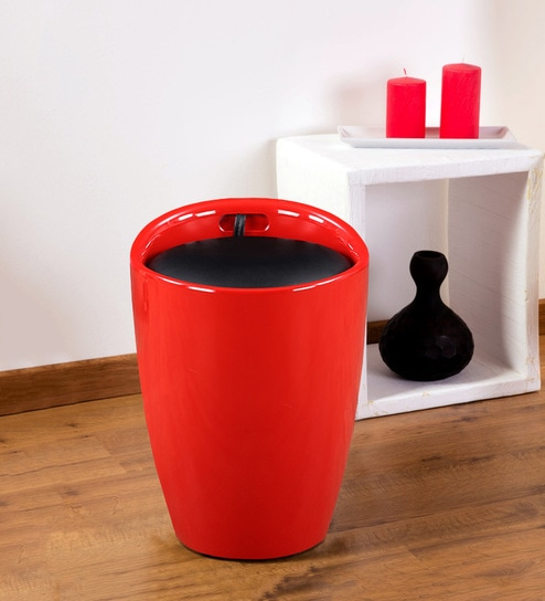 Superb Luna Stool With Storage With Storage In Red Finish By Hometown Ibusinesslaw Wood Chair Design Ideas Ibusinesslaworg