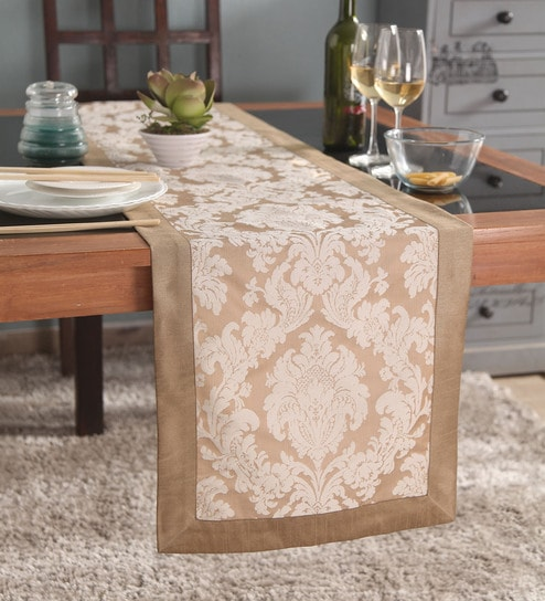 buy lushomes beige jacquard runner with high quality border online