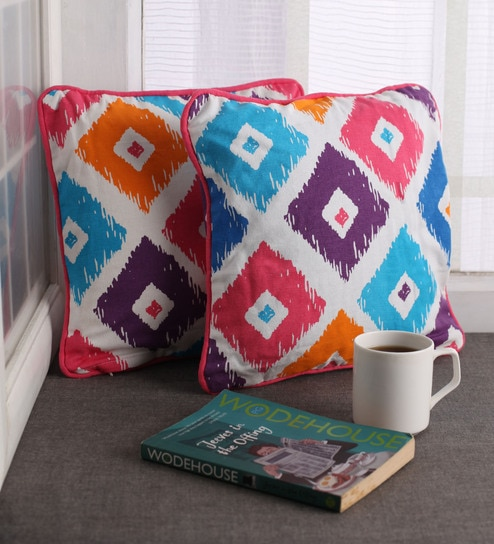 Ethnic Motif Cotton 12 X Inch Cushion Cover Set Of 2 By Lushomes