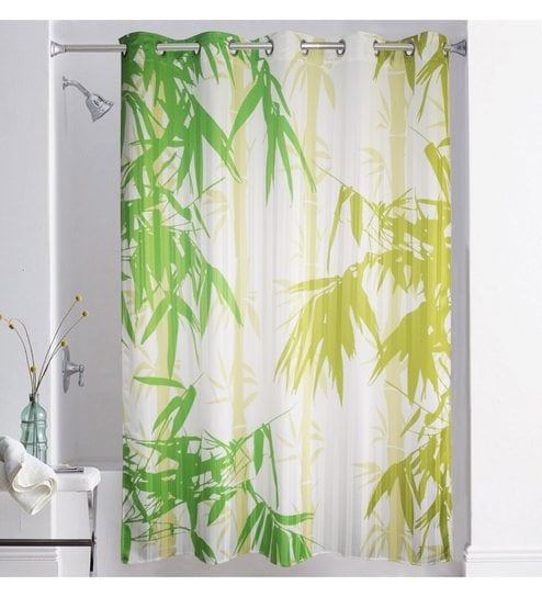 Buy Multicolour Polyester 72 X 82 Inch Digitally Printed Bamboo Shower Curtain By Lushomes Online