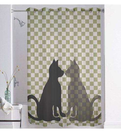 Multicolour Polyester 73 X 82 Inch Digitally Printed Cat Shower Curtain By Lushomes