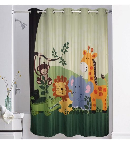 Buy Lushomes Multicolour Polyester 75 X 82 Inch Digitally Printed Kids Design 1 Shower Curtain Online