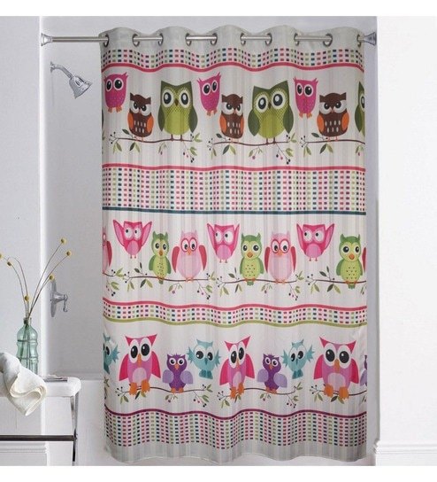 Multicolour Polyester 79 X 82 Inch Digitally Printed Owl Shower Curtain By Lushomes
