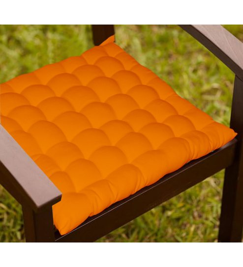 Orange Cotton 15 X 15 Inch Chair Cushion With 36 Knots U0026 4 Tie Backs By