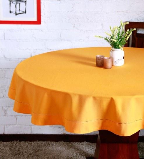 Round Table Orange.Lushomes Plain Sun Orange Round Table Cloth