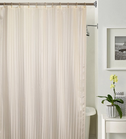 Lushomes Thick Striped Cream Water Repellent Shower Curtain With 12 Eyelets And C Hooks