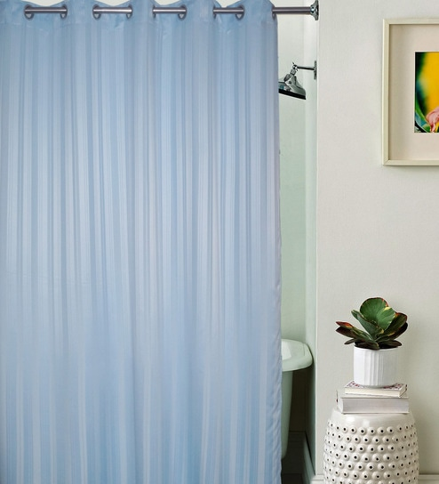 Buy Lushomes Unidyed Sky Blue Polyester Shower Curtain With 10