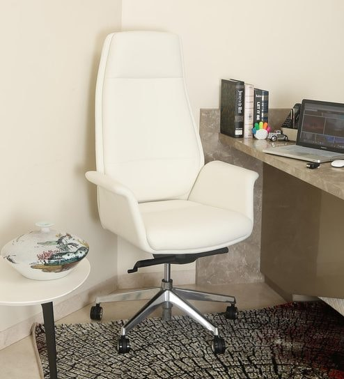 buy luxur high back executive chair in pearl white half leather by