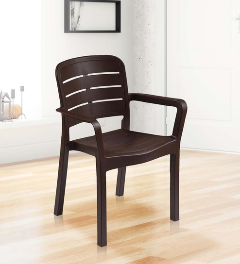 Buy Luxury Plastic Chair In Brown Colour By Italica Furniture Online
