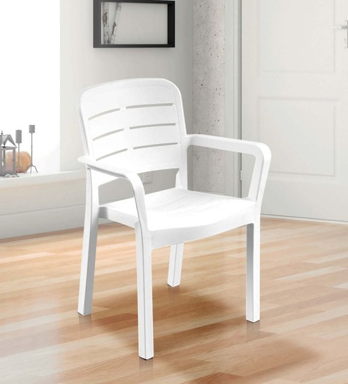 Luxury Plastic Chair in White Colour by Italica Furniture