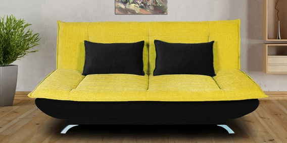 Lujoso Sofa Bed With Cushions In Yellow Black Colour By Iris Furniture