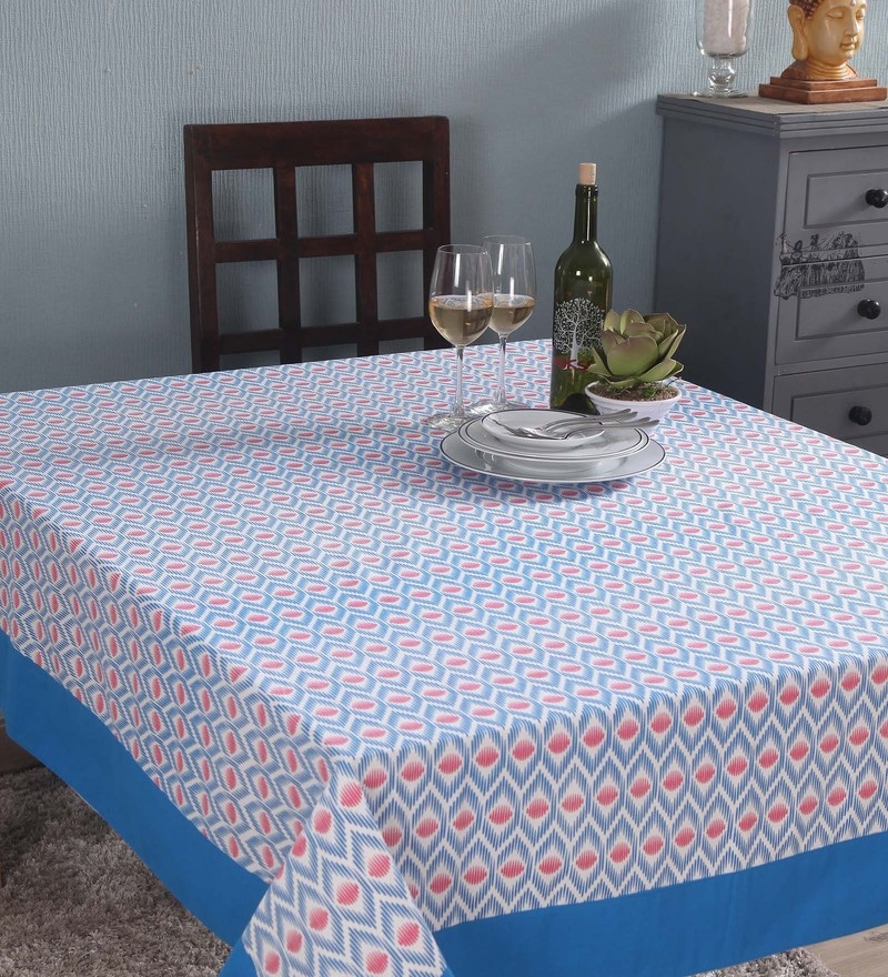 Lushomes 6 Seater Small Diamond Blue Cotton Table Cloth