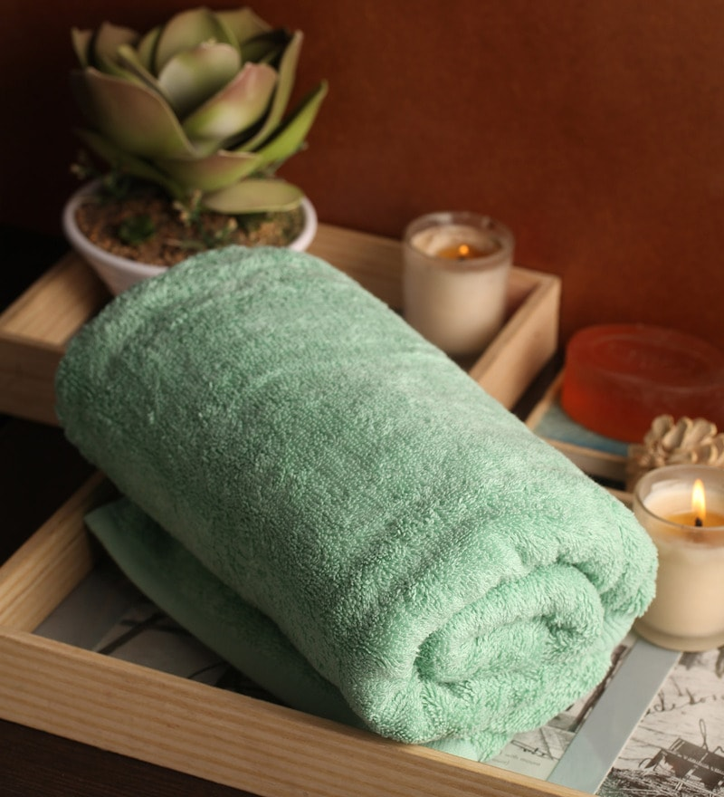 Green Cotton 27 x 55 Bath Towel by Lushomes