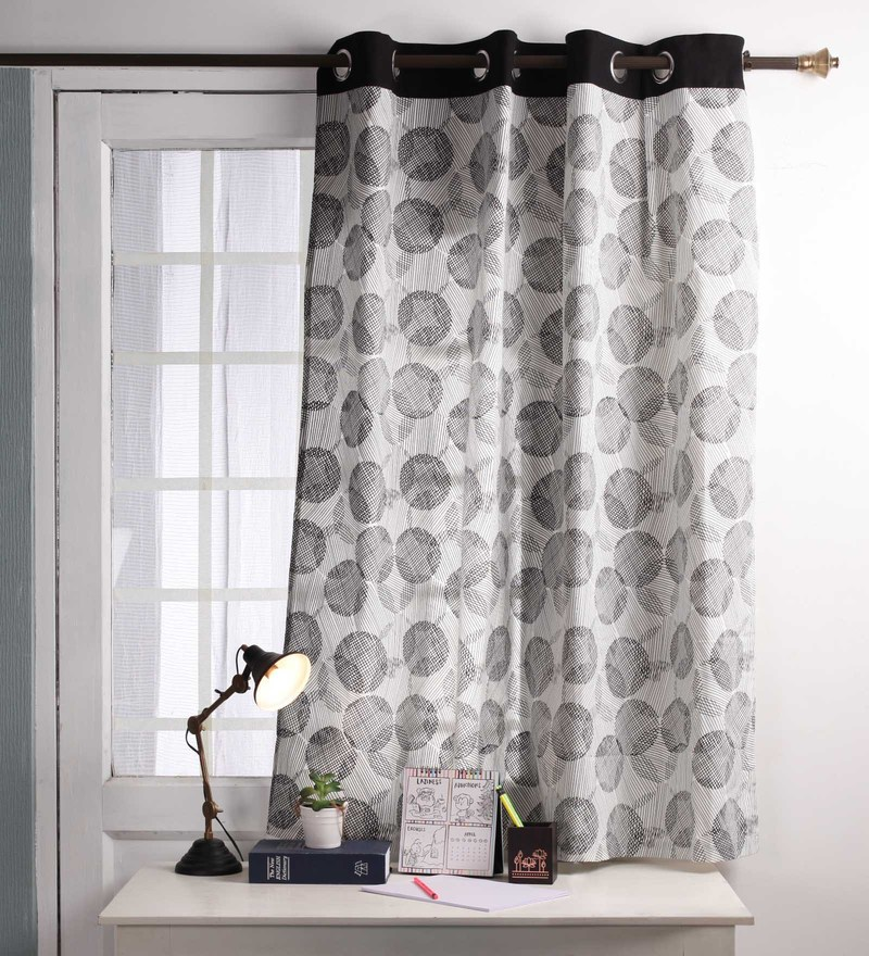 Black Cotton 60 x 54 Inch Geometric Printed Windows Curtain with 8 Eyelets & Plain Tiebacks -1 Piece by Lushomes