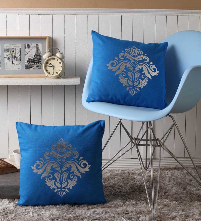 Blue Cotton 16 x 16 Inch Cushion Covers with Silver Foil Print - Set of 2 by Lushomes