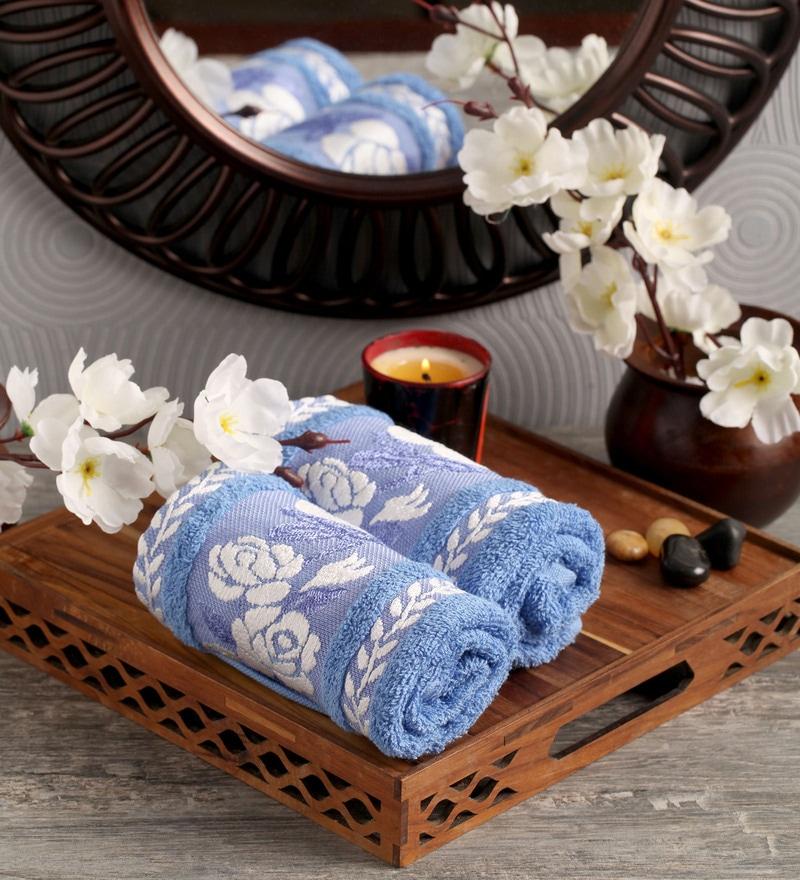Lushomes Blue Cotton 16 x 24 Hand Towel - Set of 2