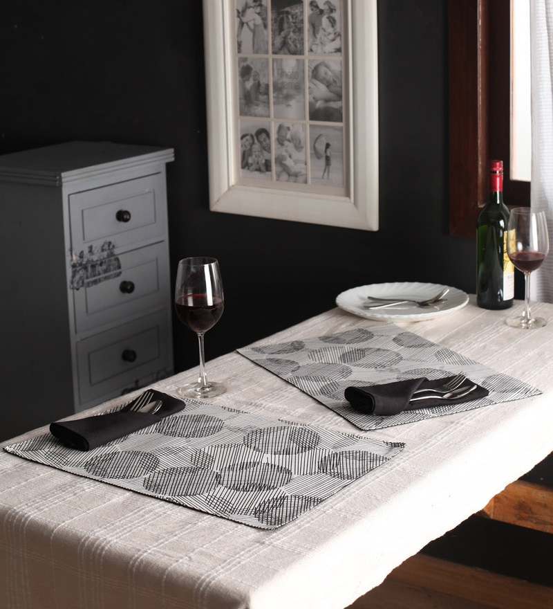 Lushomes Geometric Printed Black & White Cotton Placemat & Napkin - Set of 12