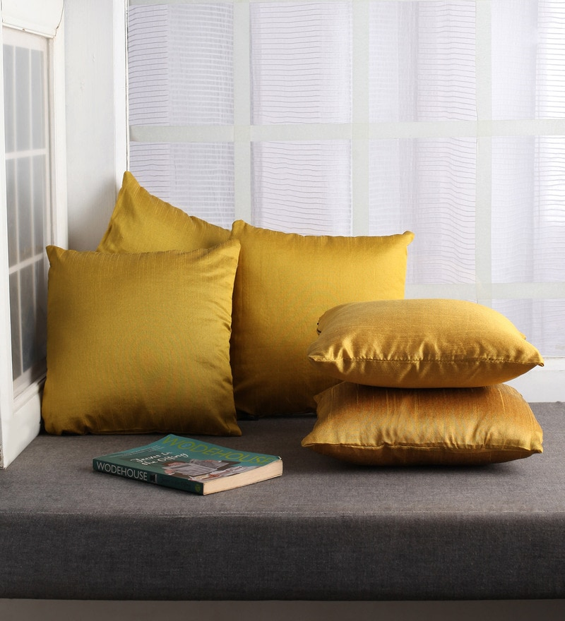 Golden Polyester 12 x 12 Inch Cushion Covers - Set of 5 by Lushomes