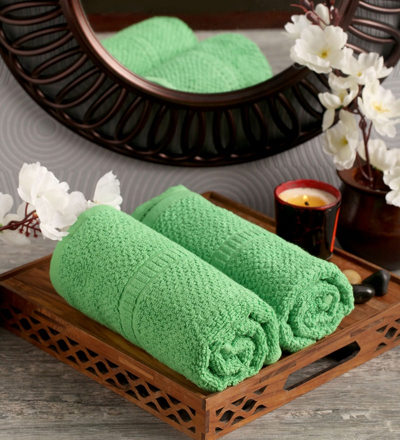 Lushomes Green Cotton 16 x 26 Hand Towel - Set of 2